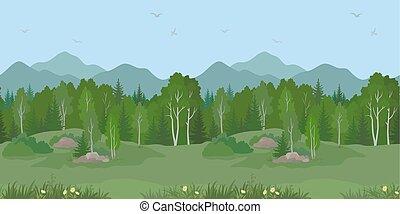 seamless, bjerg landskab, hos, træer
