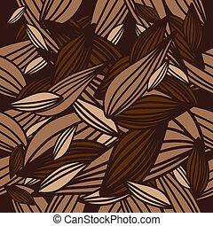 seamless, blättert, hintergrund, pattern., vektor, art.