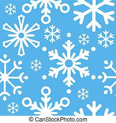 seamless, blå, jul, mönster, med, snöflingor