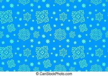 seamless, blå, vinter, mönster, med, snöflingor