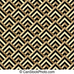 Art Deco Vector Floral Pattern In Gold And Black Seamless Texture