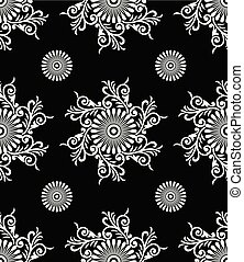 Seamless black and white antique floral pattern