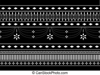 Seamless Black and white Asian Thai pattern vector