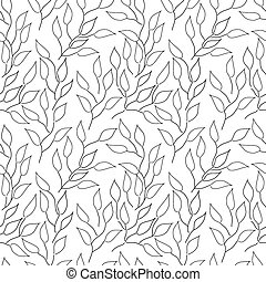 Seamless black and white background with leaves