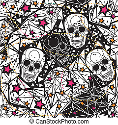 Seamless black and white background with skulls