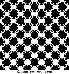 Seamless black and white circle pattern - vector background design