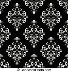 Seamless black and white damask wallpaper