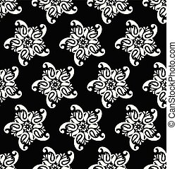Seamless black and white floral paisley pattern