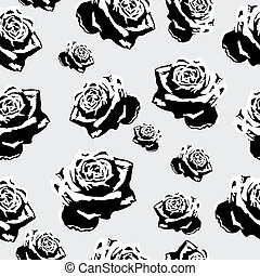Seamless black-and-white flowers roses pattern for background.Vector