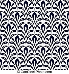 Seamless black and white leaves vector pattern.