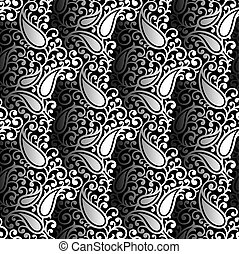Seamless black and white paisley wallpaper