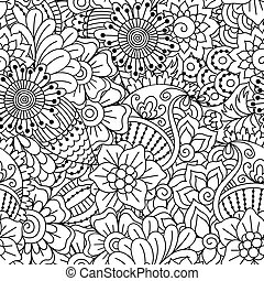 Seamless black and white pattern. Ethnic henna hand drawn...
