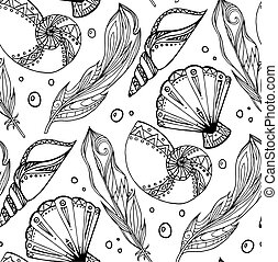 Seamless black and white pattern of hand drawn feathers and seashells with boho pattern. Tribal doodle background. Vector element for your creativity.