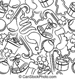 Seamless black-and-white pattern with Christmas decoration.Vector illustration