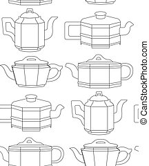 Seamless black and white pattern with contour clay teapots in row. Chinese tea ceremony. Linear drawing of kettles. Vector texture