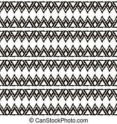 Seamless black and white pattern with ethnic motifs