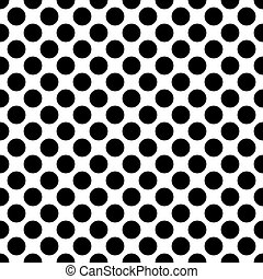 Seamless black and white polka dots pattern texture background