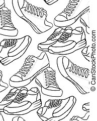 Seamless black and white texture with a contour pattern of running shoes and a sneaker.