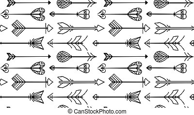 Seamless black and white texture with Boho arrows. Vector background for websites, invitations, scrapbooking and your design