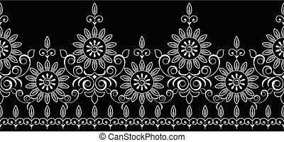 Seamless black and white traditional indian border