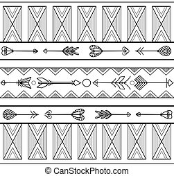 Seamless black and white tribal texture with arrows. Vector background for your design