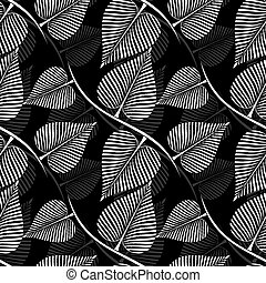 Seamless black and white vector leaves pattern