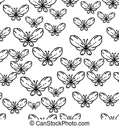 Seamless black and white vector pattern with butterflies