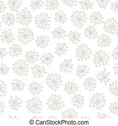 Seamless black and white vector pattern with flowers on white