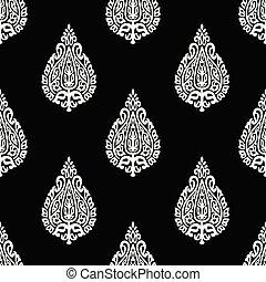 Seamless black and white vintage damask pattern