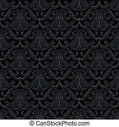 seamless, black , behangpatroon