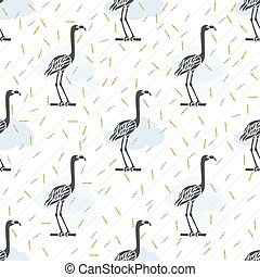 seamless black bird with silver and gold glitter pattern background