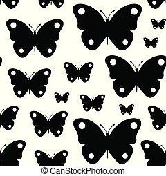 Seamless black butterflies