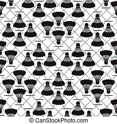 Seamless black design badminton pattern