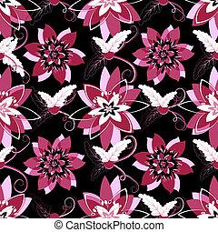 Seamless black floral pattern