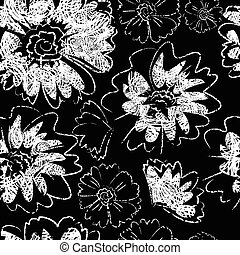 Seamless black floral pattern