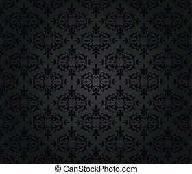 Seamless black floral wall paper - Seamless black floral ...