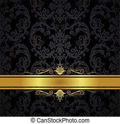 Seamless black floral wallpaper and gold ribbon
