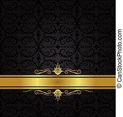 Seamless black floral wallpaper and gold ribbon