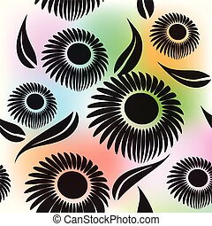Seamless black flowers background