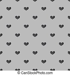 SEAMLESS BLACK HEART GLITTER ON GREY BACKGROUND