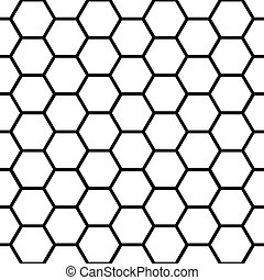 Seamless black honeycomb pattern over white - Graphic...