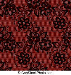 Seamless black lace on red background