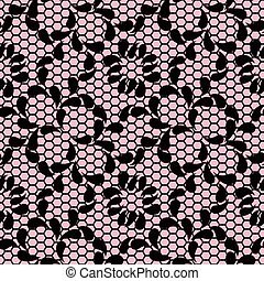 Seamless black lace pattern on pink background