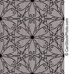 Seamless black lace pattern on pink background