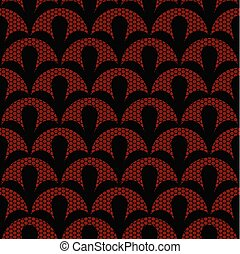 Seamless black lace pattern on red background