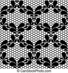 Seamless black lace pattern on white background