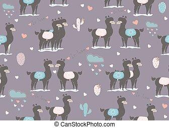 Seamless black llama pattern - Seamless dark llama pattern...