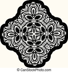 Seamless Black Mandala On White