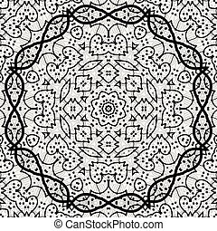 Seamless black outlined mandala.