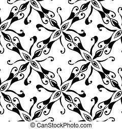 Seamless black pattern on white background